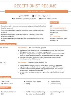 Resume Receptionist View Example