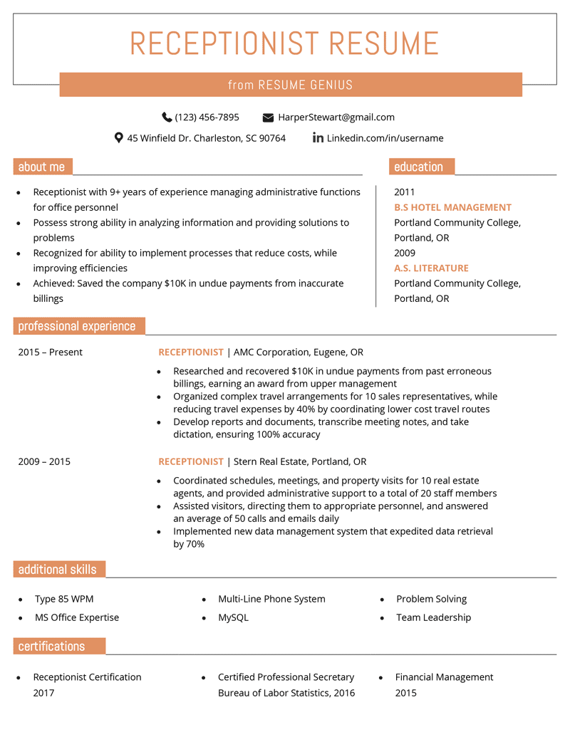 receptionist resume sample  u0026 writing guide