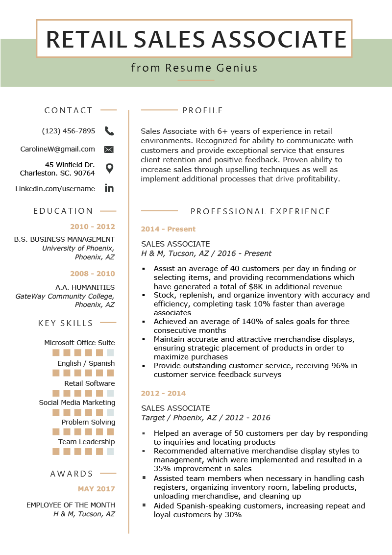 Retail Sales Associate Resume Example Template