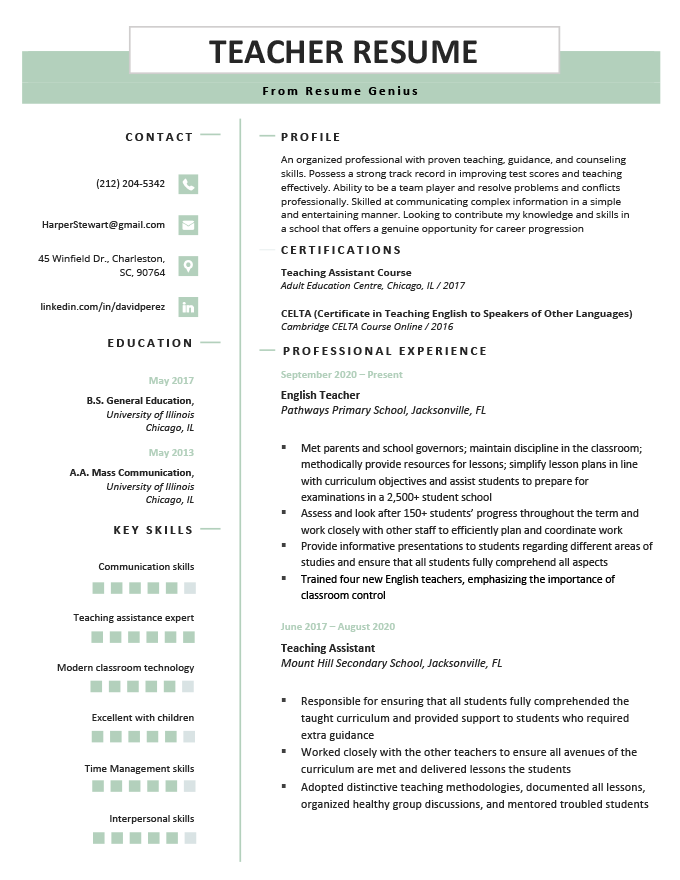 Teacher Resume Example Template