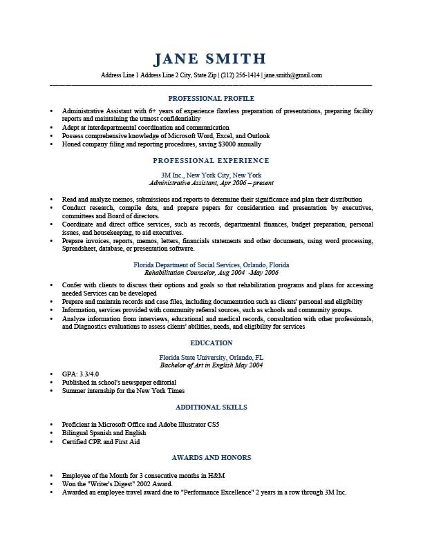 resume template trump dark blue trump dark blue - Profile Resume Example