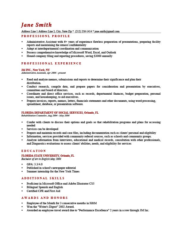 washington brick red sample resume profile - Examples Of Professional Resumes