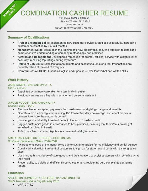 Cashier Combination Resume Sample  Cashier Description For Resume