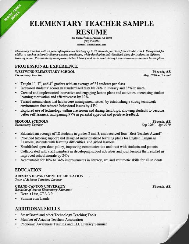 elementary teacher resume sample. Resume Example. Resume CV Cover Letter