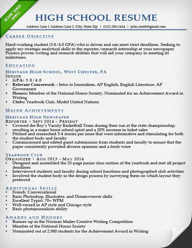 High School Resume Sample In Example Of A High School Resume