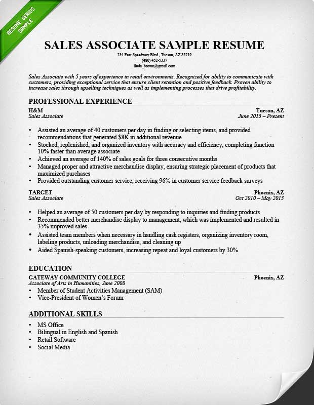 Resume Resume Example Sales Job retail sales associate resume sample writing guide rg sample