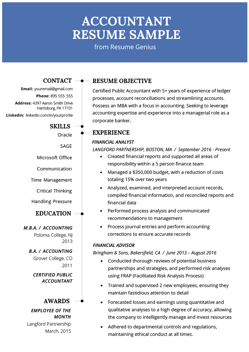 Accountant Resume Sample And Tips Genius