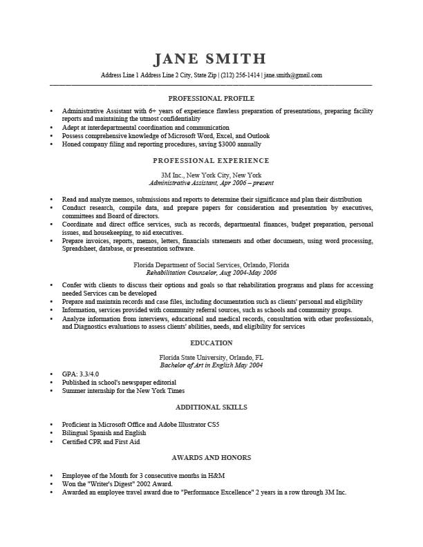 Summary portion of resume