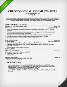 chronological resume format example - Resume Formats