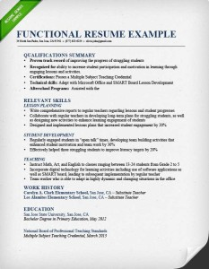 Functional Resume Format Example  Chronological Resume Format