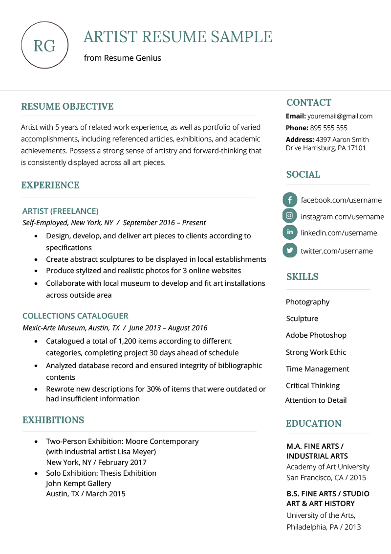 artist resume example template