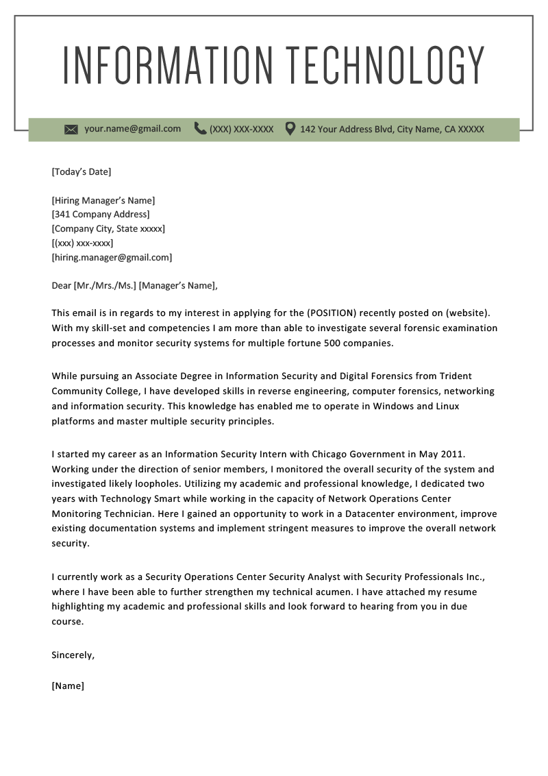 information technology it cover letter example template