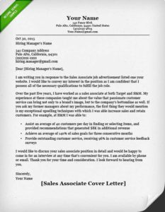 sales associate cover letter sample - Sample Resume Retail