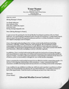 Amazing Social Media Cover Letter Example