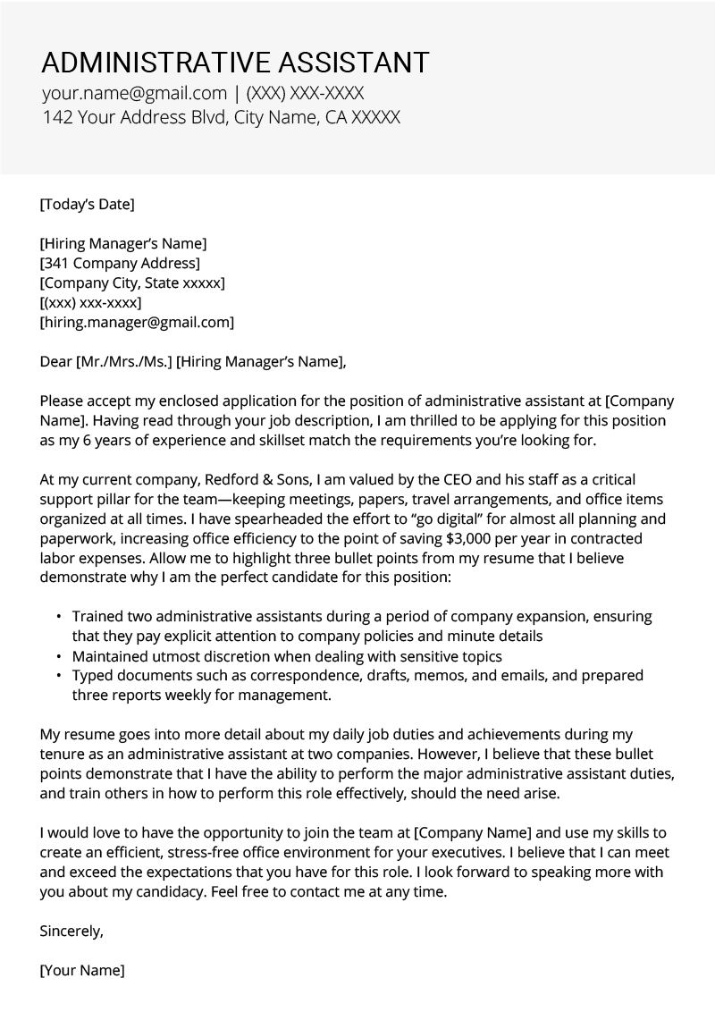 Administrative Assistant Cover Letter Example Template