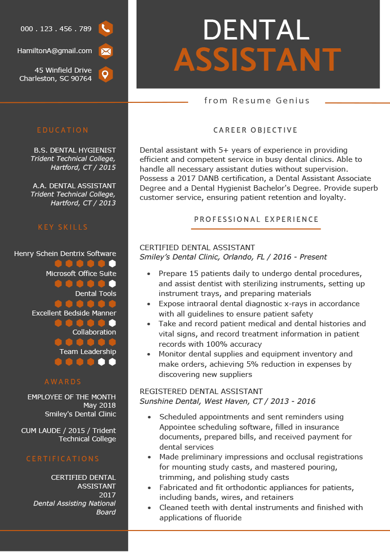 dental assistant resume example template