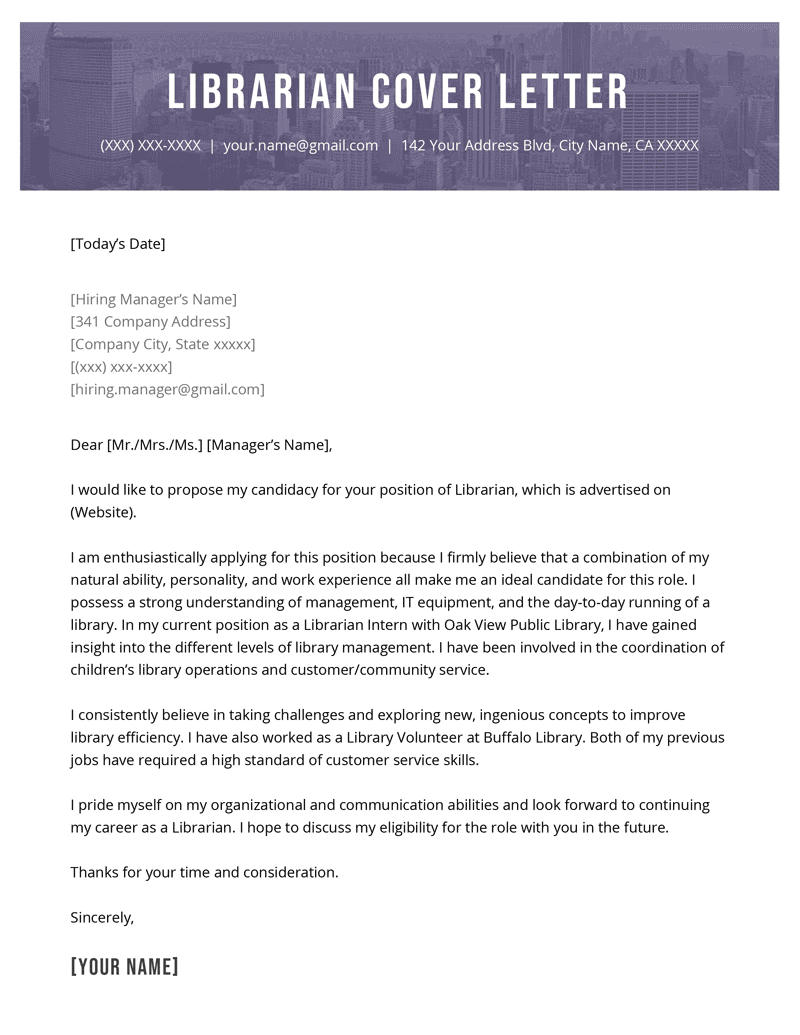 librarian cover letter example template