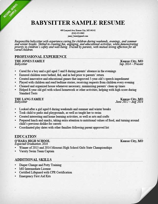 Babysitter Resume Sample  Resume For Lifeguard