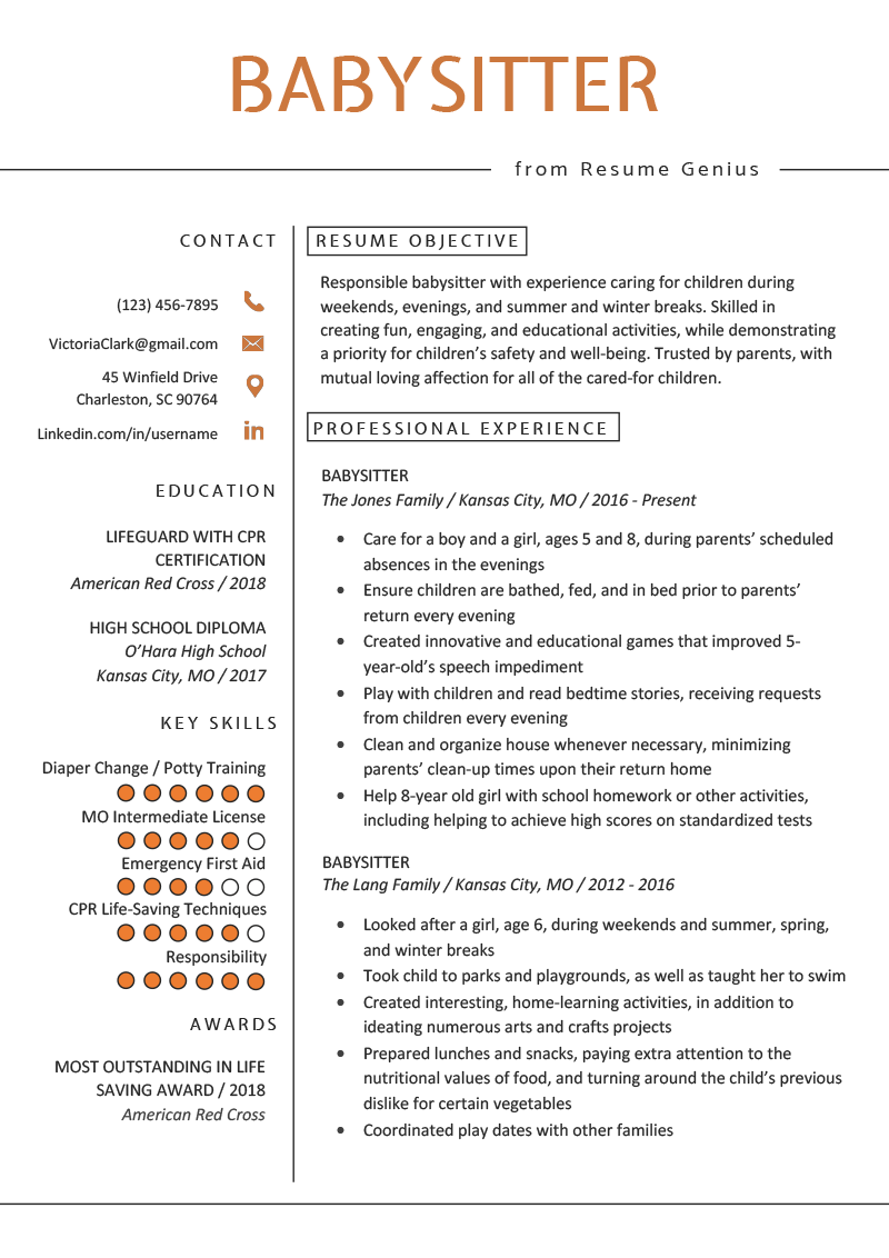 Skills To Put On A Resume For Highschool Students.Babysitter Resume Example Writing Guide Resume Genius