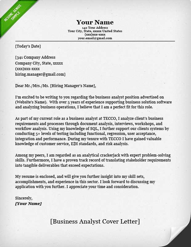 cover letter example business analyst classic business analyst cl classic - Format Of Cover Letter For Resume