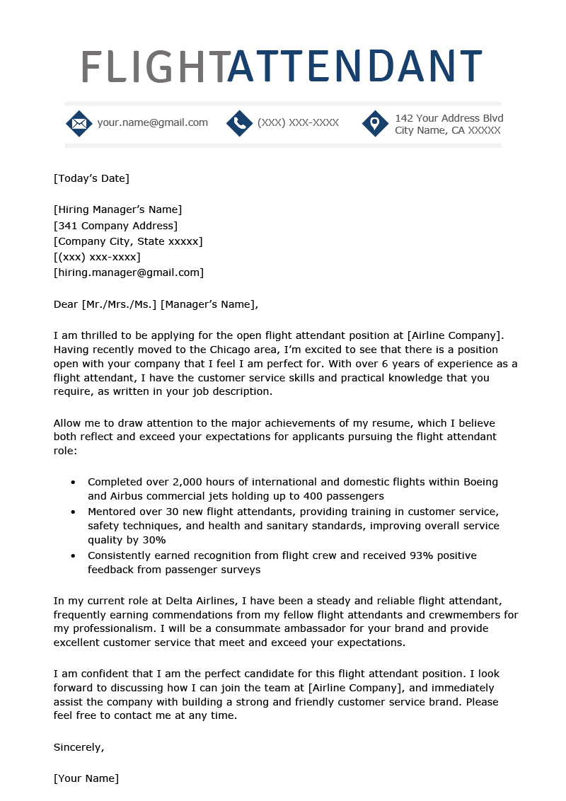 Flight Attendant Cover Letter Example Template