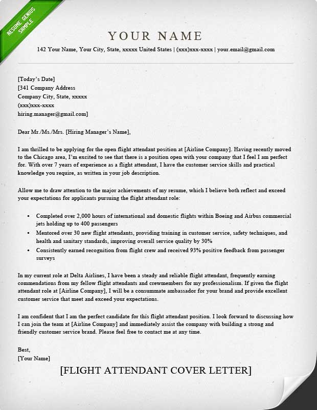 flight attendant cover letter sample Flight Attendant Cover Letter Sample | Resume Genius