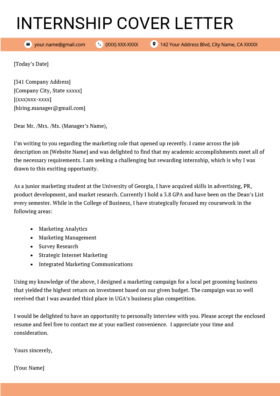 College Student Cover Letter Sample