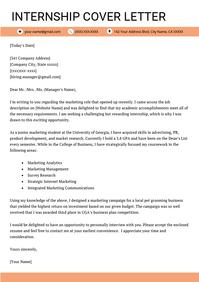 internship cover letter example template