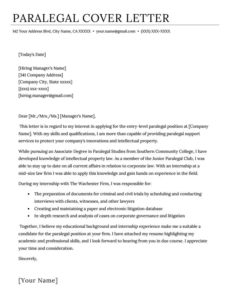 paralegal resume cover letter