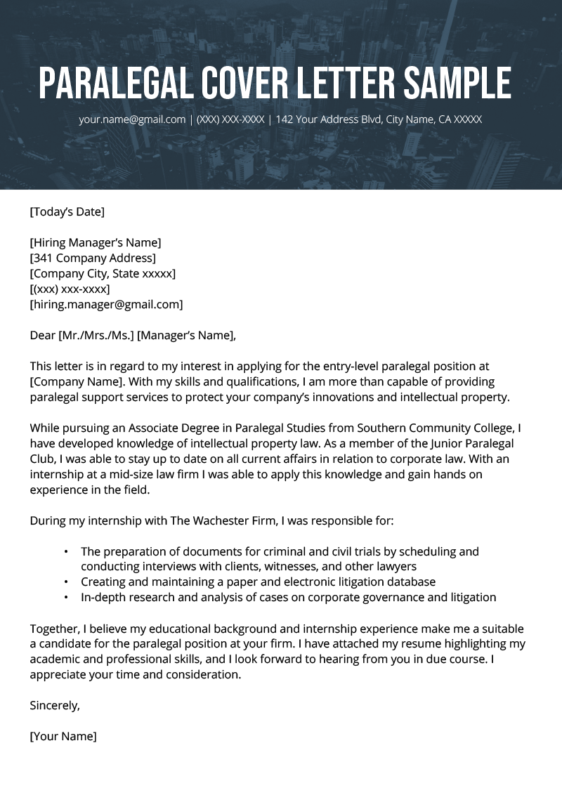 Paralegal Cover Letter Example | Resume Genius