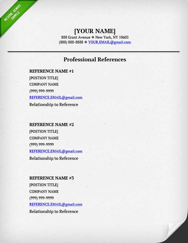Examples of reference page for resume