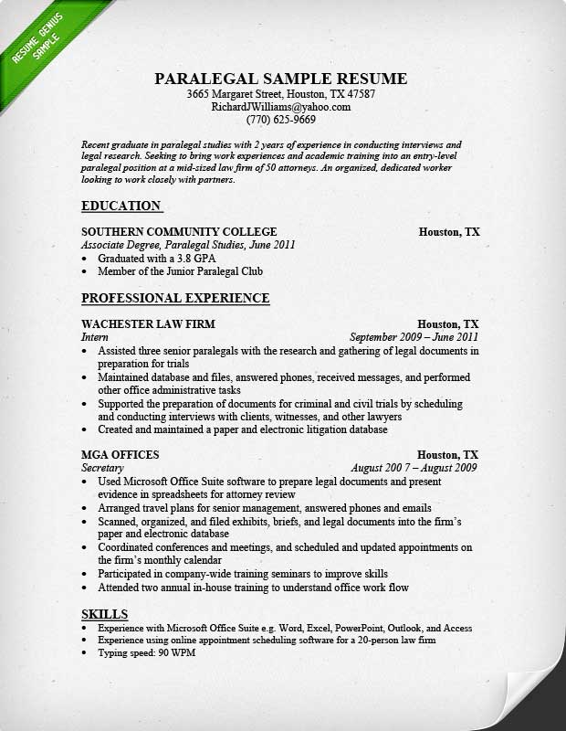 Resume Example For Paralegal  Professional Resume Paper