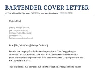 Bartender Cover Letter Example Template
