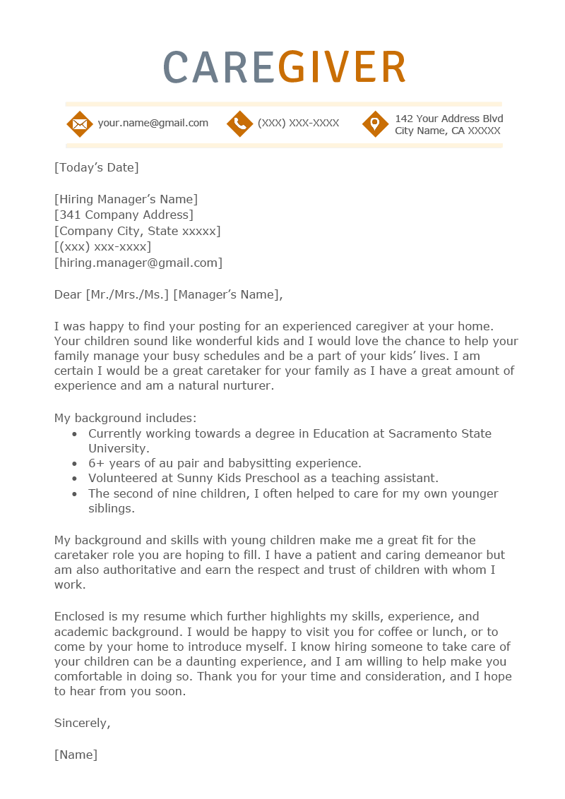 Caregiver Cover Letter Example Template