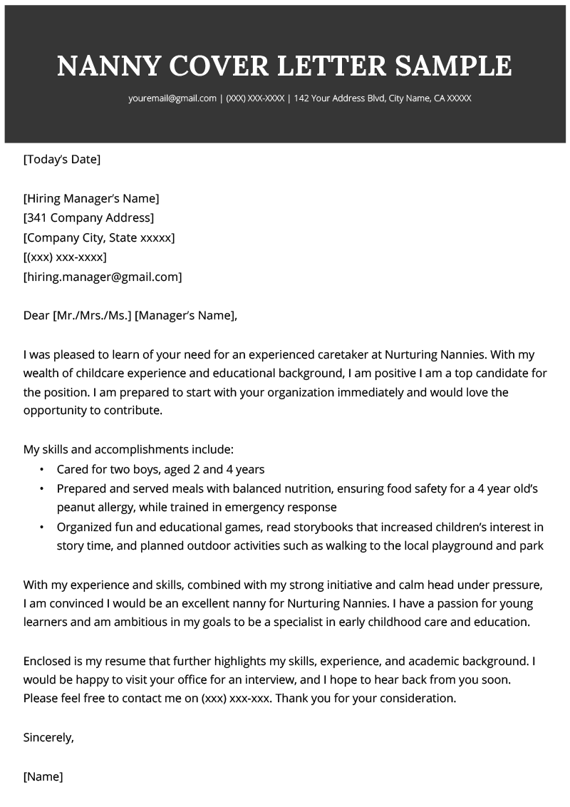 nanny cover letter sample  u0026 writing tips