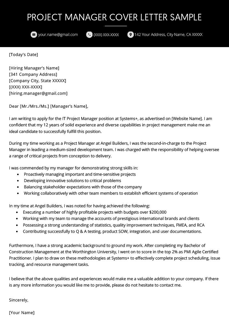project manager cover letter example template
