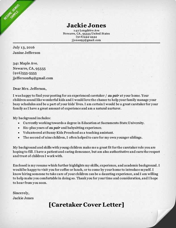 Nanny Cover Letter Sample 27.05.2017