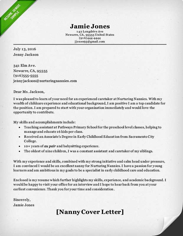 Nanny Cover Letter Sample. Nanny Recommendation Letter Sample