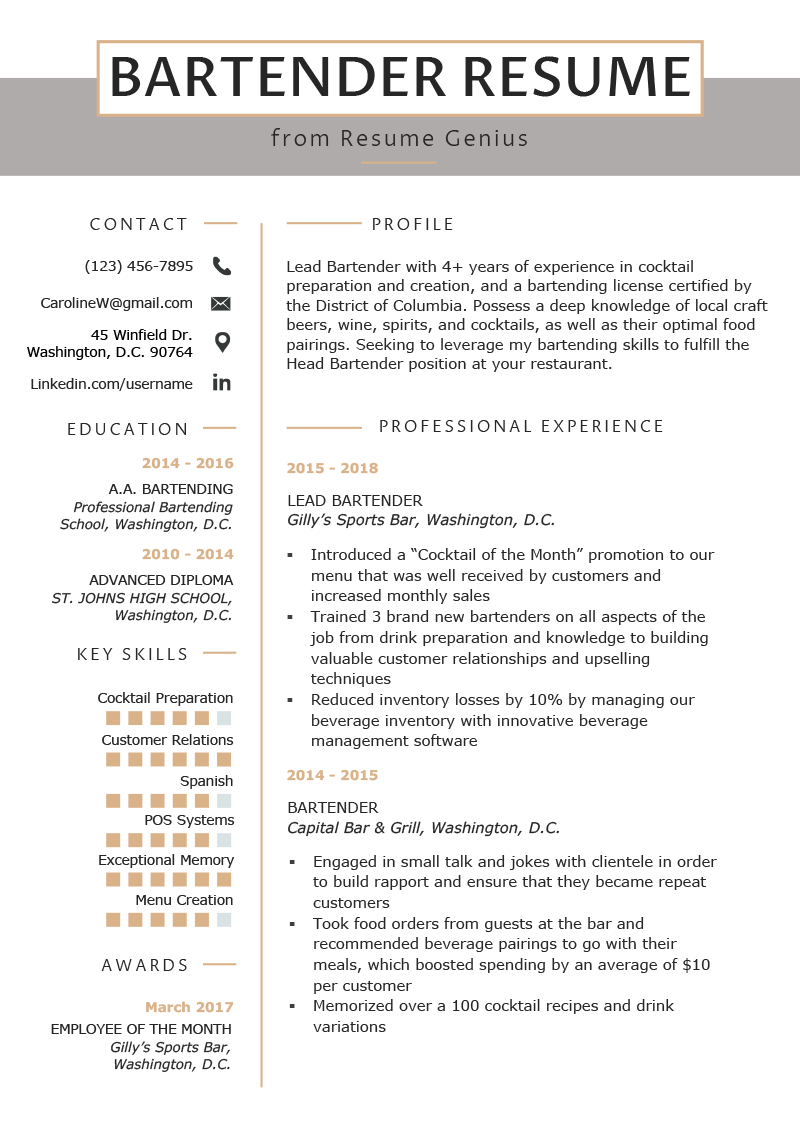 bartender resume example  u0026 writing guide