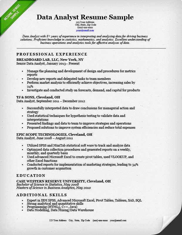 data analyst resume example - Sample Picture Of A Resume
