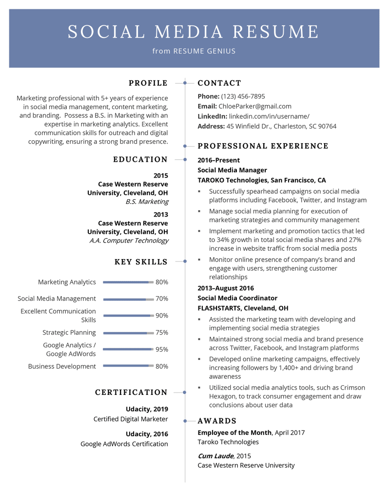social media resume example template