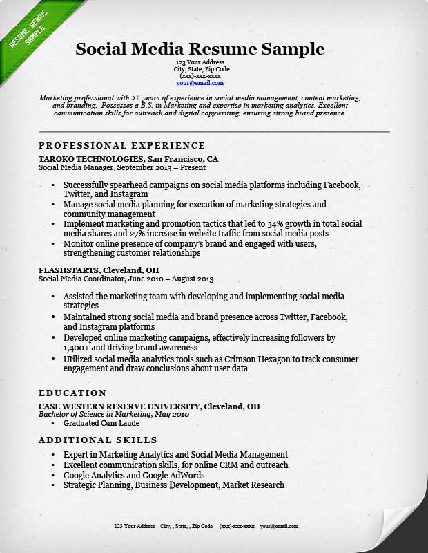 Resume Example Social Media  Sample Marketing Resumes