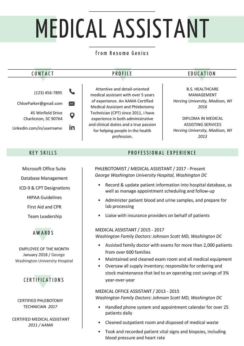 Medical Assistant Resume Example Template