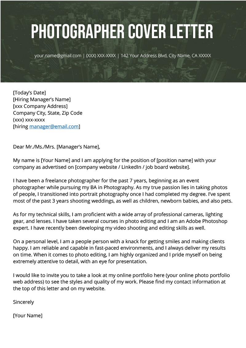 Photographer Cover Letter Example Template