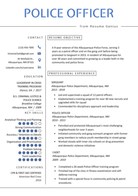 Resume Police Officer View Example