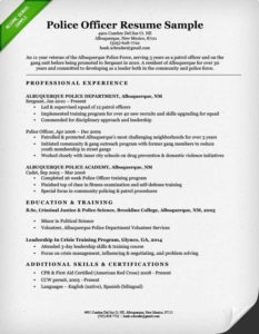 Police Officer Resume Example  Cover Letter For Law Enforcement