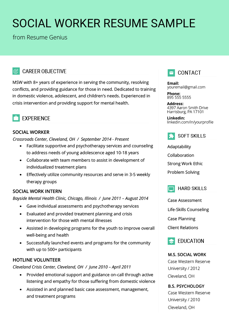 Social Worker Resume Example Template