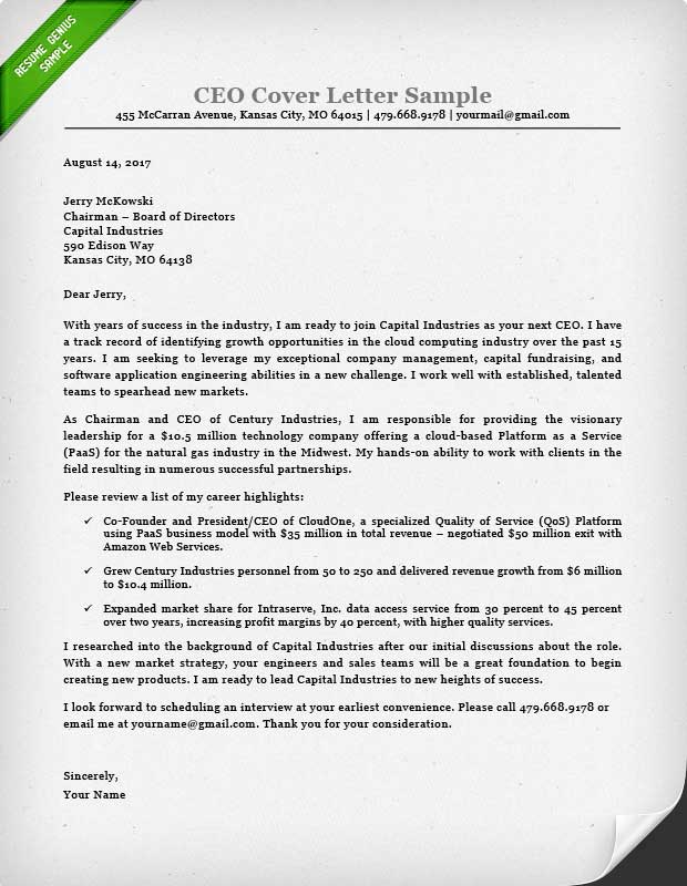 Executive Cover Letter. Bunch Ideas Of Trend Senior Executive Cover ...