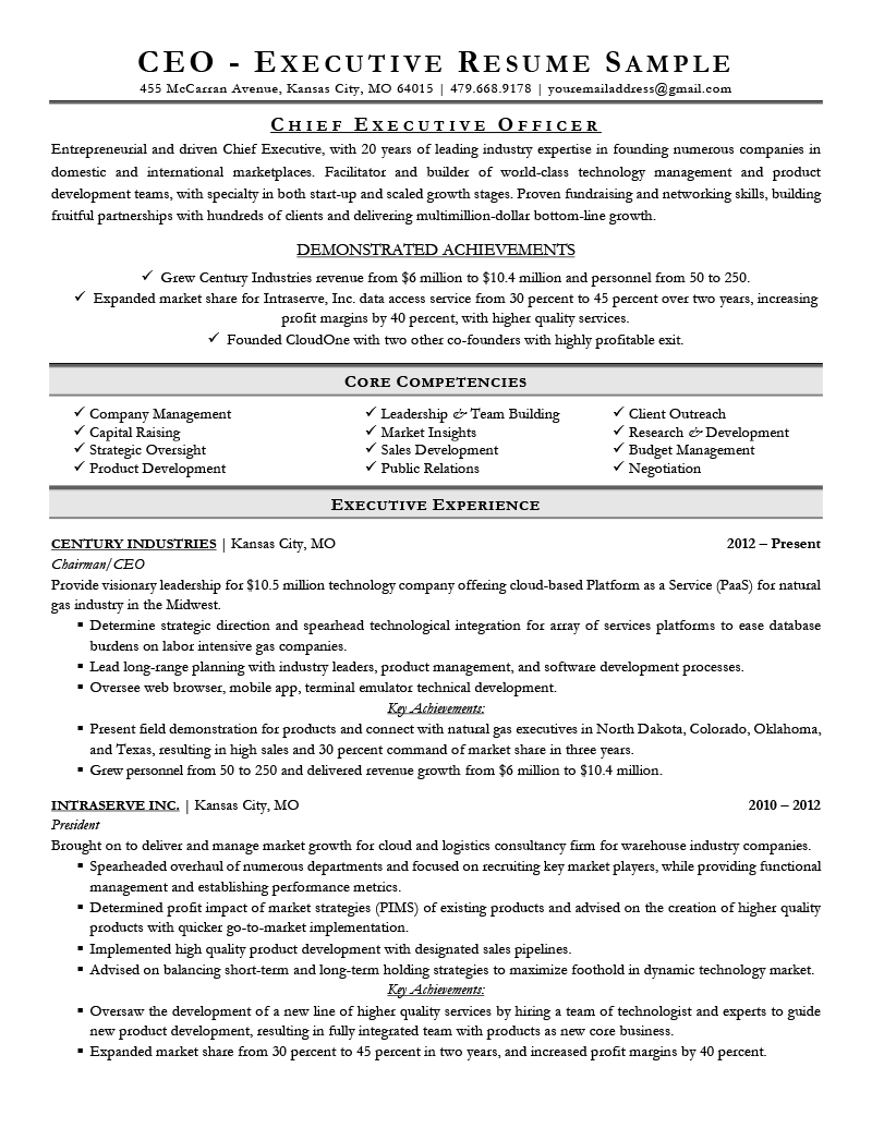 CEO Resume Sample Template