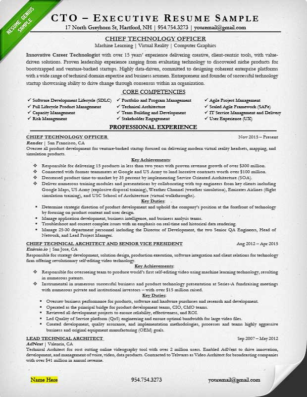 Charming CTO Resume Sample: Page 1 Intended Executive Resume